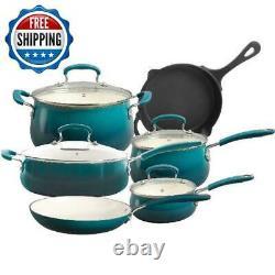 10-Piece Ceramic Nonstick Cookware Set Pans & Pots Sauce Dutch Oven Lids Kitchen