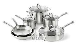 10-Piece Cookware Set, Stainless Steel Calphalon Classic Pots And Pans Set NEW