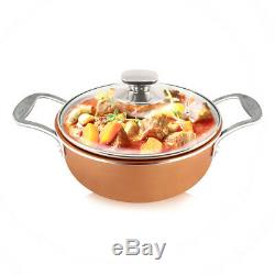 11 Pieces Copper Cookware Set non stick fry pans saucer pot stockpot saucer pan