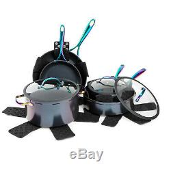 12-Piece Cookware Set Rainbow Electroplated Nonstick Pots Pans Saucepan Fry pan