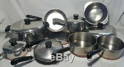 15 Piece REVERE WARE COPPER CLAD SET Stock Pots Pans Skillets Lids h6