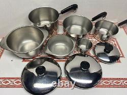 15 Piece Set Revere Ware Copper 6 Qt Stock 1,2,3 Qt Sauce Pots 7 & 10 Fry Pans