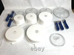 15 Piece Set of Princess House Nouveau Cookware Set With Blue Handles Pots Pans