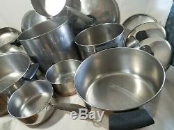 17 Piece REVERE WARE COPPER CLAD SET Stock Pots Pans Skillets Lids g6