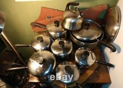 18 Piece Vintage Revere Ware Copper Bottom Cookware Set