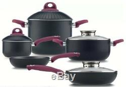 5-Piece Non-Stick Cookware Set Frying Pan Pasta Pot Saucepan Glass Lid Induction
