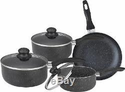 7 Piece Marble Saucepan Cookware Set Kitchen Frying Pan Glass LID Non Stick New