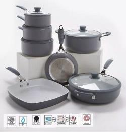 7 Piece Professional Grey Cookware Set Non Stick -Silicon Handles Bargain