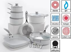 7 Piece Professional WHITE Cookware Set Non Stick -Silicon Handles -INDUCTION