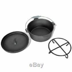 9 Piece Dutch Oven Pan Set Cast Iron Cookware Set Kitchen Pot Outdooor Camping