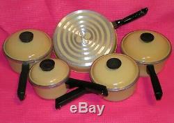 9 Piece VINTAGE Lot CLUB COOKWARE SET Saute/Frying Pan+4 POT+LID YELLOW Aluminum