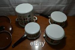 9 Piece Vintage Enamel Cookware Steamer Pot 70s Design Brown yellow flowers set
