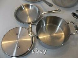 All Clad D3 Stainless 3-ply Bonded Cookware 10 Piece Set Great Pre-Owned Cond
