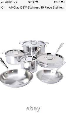 All clad D3 10 piece stainless steel cookware set BRAND NEW