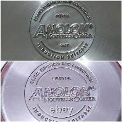 Anolon Nouvelle Copper Hard-Anodized Nonstick 8 Piece Cookware Set VGUC