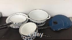 Austria Email Universal Enamel Cookware 9 PIECE SET Pots Pans Lids Vintage