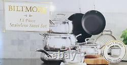 Biltmore 13 Piece Belly Shaped Stainless Cookware Set, NIB! L@@K Great Price