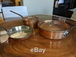 Bourgeat Copper Cookware 5 Piece Set Fry Pan, Sauce Pan, and Saute Pan