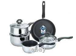 Buckingham 5 Piece Induction Pan Set Saucepan Set Cookware Pot Stainless Steel