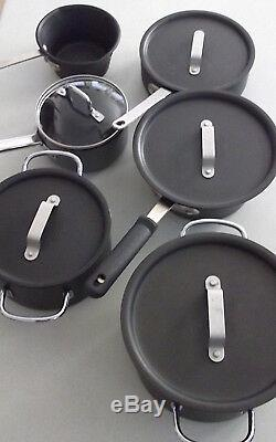 CALPHALON Nonstick HARD ANODIZED ALUMINUM 11-Piece Gray COOKWARE Set & Lids