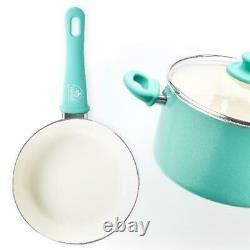 COOKWARE SET 18 Piece Ceramic Non-Stick Kitchen Pots Pans Utensils Turquoise NEW