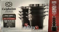 Calphalon 1348304 Premier Hard Anodized Space Saving Cookware Set 12 Piece