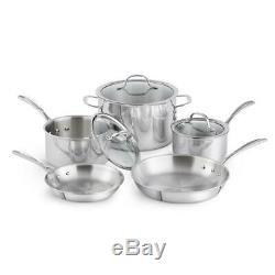 Calphalon Cookware Set Lids Dishwasher Safe Tri-Ply Stainless Steel 8-Piece