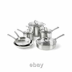Calphalon Kitchen Classic Pots Pans 10 Piece Cookware Set Stainless Steel New