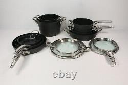 Calphalon Premier Space Saving Pots and Pans Set, 15 Piece Cookware Set, Nonstic