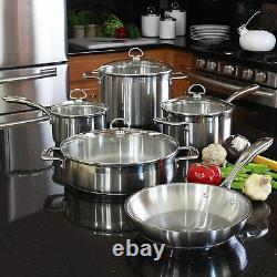 Chantal Induction 21 Stainless Steel 9 Piece Cookware Pot's Pan Set SLIN-9 NEW