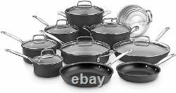 Chef's Classic 17 Piece Hard Anodized Non Stick Cookware Set Black Oven Safe