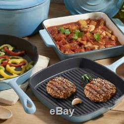 Cooks Cast Iron Cookware 8 Piece Set by Cooks Professional Blue