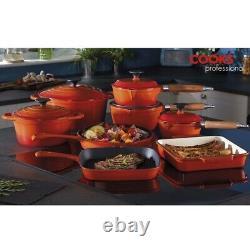 Cooks Professional Cast Iron Cookware Pan Skillet Saucepan Dish 8 Piece Set