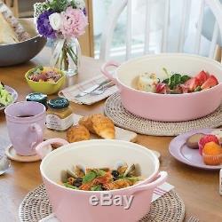 Cookware Pots Pans Set 5 Piece Pink Ceramic Frying Stockpot Kitchen Gift New