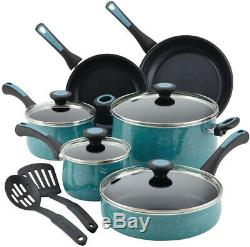 Cookware Set 12-Piece Aluminum Nonstick in Gulf Blue Speckle Finish with Lids