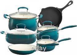 Cookware Set Non-Stick Coating 10 Piece Ocean Teal Ceramic Pots And Pans Set