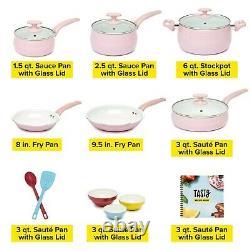 Cookware Set Nonstick Interior Ceramic Kitchen Pots Pans + accessories 16 Piece