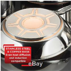 Cookware Set Stainless Steel Copper Bottom 13 Piece Pots & Pans Lids Silver