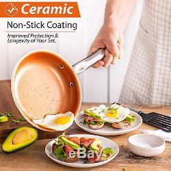 Copper Pots and Pans Set Nonstick Cookware 23-Piece Induction Ceramic Cook Set