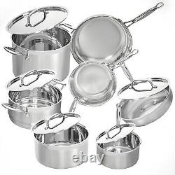 Deco Chef Stainless Steel Cookware 12-Piece Set, Tri-Ply Core, Riveted Handles