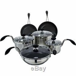 Eazigrip 10 Piece Non-Stick Stainless Steel Cookware Set RRP £299. CLEARANCE