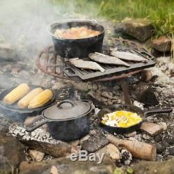 Esschert Design Seven Piece Campfire Cooking Set Dutch Oven Pot Black FF240