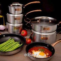 Fleischer and Wolf London Tri-Ply 12-Piece Cookware Set Professional Chef Set