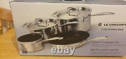 Genuine Le Creuset 3 -Ply Stainless Steel Non-Stick 4 Piece Cookware Set