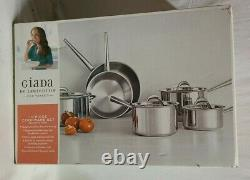 Giada De Laurentiis 10 Piece Cookware Set Tri-Ply Clad Professional Series