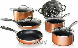 Gotham Steel Copper Cast Nonstick 20 Piece Cookware Set 5 utensils included