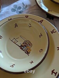 Great 18 Piece Set Of Monterrey Western Enamel Ware, Plates, Cereal Bowls, Mugs