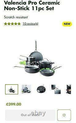 GreenPan Ceramic Non-Stick 11-Piece Cookware Set, Silver Brand New In Box