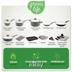 Green Life Toxin-Free Ceramic Nonstick 18-Piece Gray Cookware Set Pots & Pans