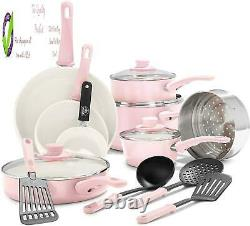 Greenlife Soft Grip Healthy Nonstick, Cookware Pots And Pans Set, 16 Piece, Pin